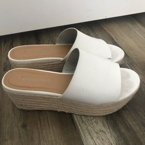 Used - Forever 21/F21 White espadrilles - Size 8